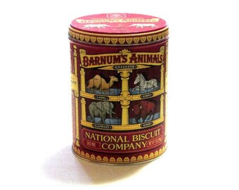 Nabisco National Biscuit Company Cracker Tin Barnum  Red Animal Circus Can With Elephant Retro Collectible Advertising Decor