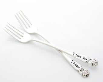 I Love You, I Know. Hand stamped wedding forks for cool engagement gift. By Milk & Honey.