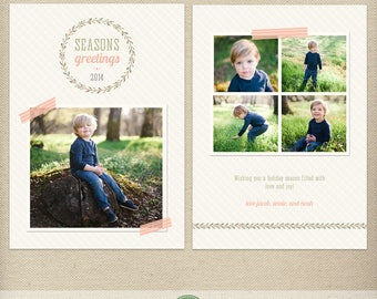 5x7 Christmas Card Template, Holiday Card Template, Photo Christmas Card, Photo Holiday Card, Seasons Greetings, Multiple Photos - H46