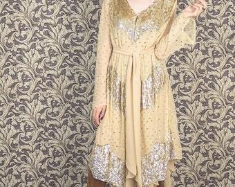 Vintage bohemian dress, sequin dress,boho dress,1960s beaded dress,1970s dress.embroidered dress, golden metallic.hippie dress