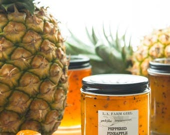 Peppered Pineapple Relish - L.A. FARM GIRL Jams & Jellies For Rustic Farm Barn Cottage Chic Ranch Boho Favors