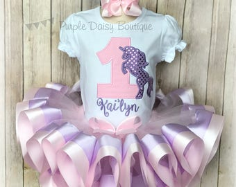 Pink and Purple Unicorn Birthday Outfit - Unicorn Birthday Ribbon Trimmed Tutu Outfit - First Birthday Tutu Set - Unicorn Party
