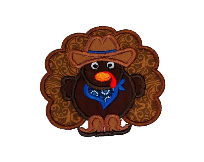 Cowboy turkey fabric iron on applique- Western Thanksgiving turkey no sew embroidered patch- ready to ship