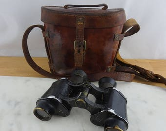 Vintage Binoculars in Leather Case, Antique WWII Era, Stamped 1916 and British Broad Arrow