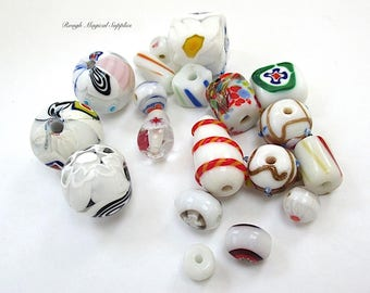 Colorful Multicolor Beads, Lampwork Glass Beads, Ceramic Bead Assortment, Bright Colors, Unusual Tribal & Abstract Patterns  20 Pieces SP605