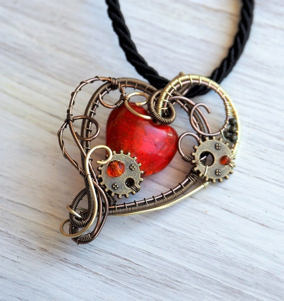 Heart necklace Wire wrapped pendant Steampunk jewelry love gift for women Anniversary gift Gears Red Antique bronze Heady wire wrap handmade