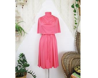70s Disco Cape Dress, Candy pink High neck Draping Midi dress w Plaited belt, XS Small 4195