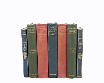 Antique Small Books, 1920s Decorative Books, Rustic BLue Book Collection, mark Twain, Red Home Decor, Old Book Decor, Green Books