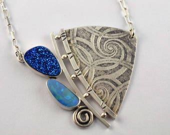 Druzy Necklace - Opal Necklace - Oxidized Necklace - Metalsmith Necklace