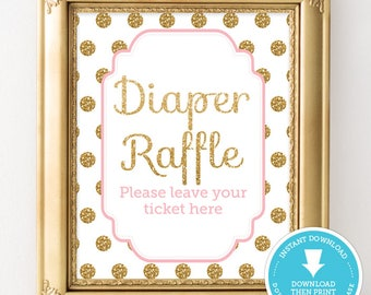 Gold and Pink Baby Shower Sign - Diaper Raffle sign - Gold Glitter Polka Dots Baby Shower - Girl Baby Shower Printable - Instant Download