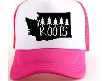 Washington State Roots Pink Trucker Hat {Pink} Child Size Trucker Hat