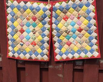 Quilted Pillow Cases / Vintage Decorative Pillow Shams / Crazy Quilt Pillow Covers