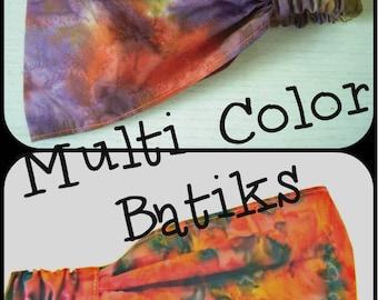Multi Color Tie Dye Batik Wide Headband - by FreCkLes GarDeN –Dreadlock Gypsy Band Yoga Headwrap Doorag Bandana Kitchen Hippy Music Festival