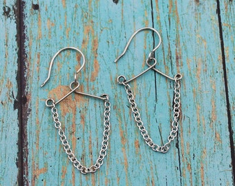 Oxidized Sterling Silver Chain Dangle Earrings; Fun, Moxie, Modern, Casual, Whimsical, Everyday Earrings, Hand Crafted, 1 1/2-Inch Dangle