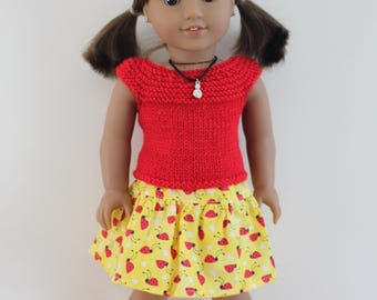 """Red Knitted Top Yellow Ladybug Skirt - Dolls clothes to fit 20"""" Australian Girl dolls & 18"""" American Girl doll and friends"""