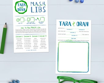 Bridal Shower Game MASH Libs - Rehearsal Dinner Activity - Printable OR Printed [#201]