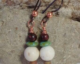 White magnesite and turquoise earrings, burgundy jasper earrings