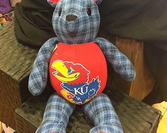 KU Kansas University Bear Keepsakes made from men's shirt