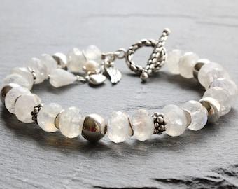 Natural Moonstone Bracelet, 925 Sterling Silver, moonstone jewelry, milky white gemstone bracelet, statement bracelet, June birthstone, 4146