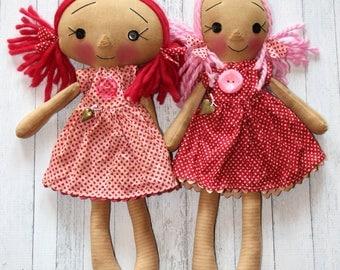 Valentine's Day Pink Hearts Best Friend Annies - Primitive Raggedy Ann Dolls (HAFAIR)