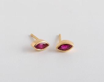 Dainty Ruby Earrings, Ruby Marquise Earrings, Marquis Stud 18k Gold Earrings, Small Ruby Stud Earrings, Delicate Ruby Earring Red Gemstone