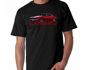 Red Camaro SS T Shirt Men's Tee 1967 1968 1969 Muscle Car Shirt Black Tee