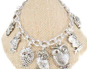 Owl Bracelet Owl Jewelry Silver Owl Charm Bracelet Love Owls Gift Birthday  Christmas Gift  Bracelet Christmas  Gift Owl Lover Gift B77