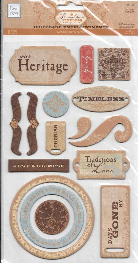 Chipboard Heritage Family Scrapbook Card Embellishment