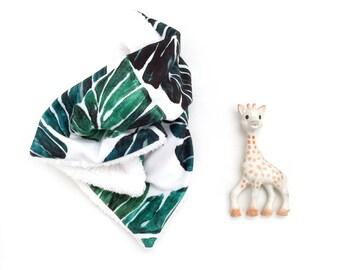 Lovey Painted Monstera. Lovey. Palm Lovey. Green Lovey. Mini Baby Blanket. Security Blanket. Lovie. Minky Lovey.