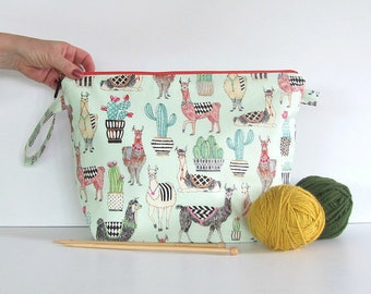 Knitting bag, Crochet bag, Project bag with llamas and cactus on mint green, Knitters Gift yarn bag