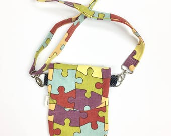 Puzzle Piece Purse, Crossbody Bag, Puzzle Fabric HIP Mini, Autism Awareness, Small Purse, Hip Pack, Women Hip Bag, Small Travel Purse