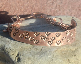 Copper Cuff Bracelet Heart Arthritis Chased Artisan Handmade Love ID OOAK Chain Maille Handcrafted Hand Stamped