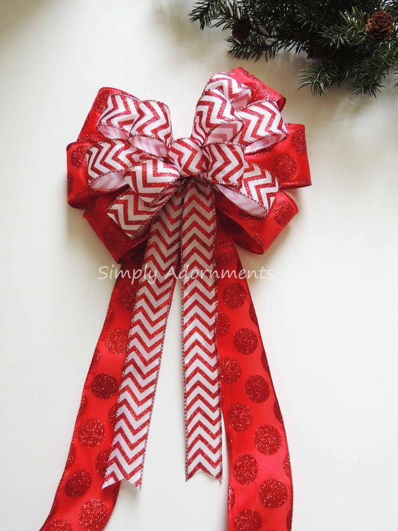 Red White Christmas Tree Topper Bow Glitter Red Chevron Polka Dots Christmas Swag Bow Red White Christmas Door Hanger Bow Red White Party