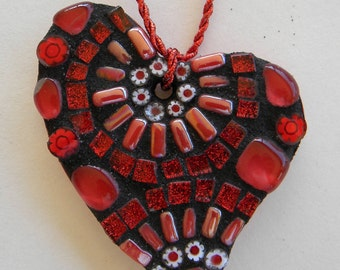 Valentine's Day Mosaic Heart Ornament, Heart Mosaic, Christmas Ornament, Mother's Day, Teacher Gift,