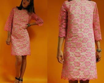 1960s Neon Pink Lace Overlay Mod Shift Dress