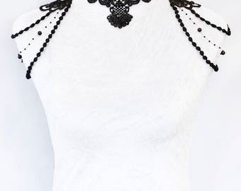 Ready to ship! Hand-made Floral black lace beaded chocker shoulder jewelry by Selene de Viollet