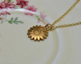 Gold Sun Necklace Gold Flower Necklace, Gold Vermeil Layering Jewelry, Raw Brass Flower Pendant Necklace, Sunflower Necklace Girlfriend Gift