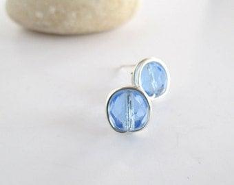 Blue Stud Earrings, Blue Earrings, Blue Crystal Studs, Gift for Her, Blue Earrings Stud, Crystal Blue Earrings, Ladies Earrings