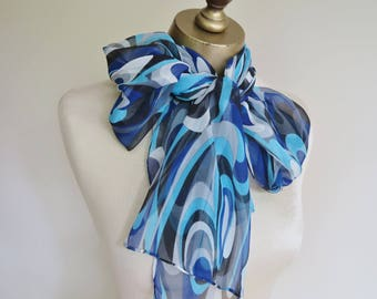 BLUE chiffon scarf, SILK chiffon scarf, 60s hair wrap, long blue scarf,skinny scarf, mod scarf, 60s fashion,  blue neck scarf, hand rolled