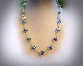 blue Swarovski crystal necklace blue Swarovski pearl necklace pearl and crystal necklace silver floral necklace pearl link necklace