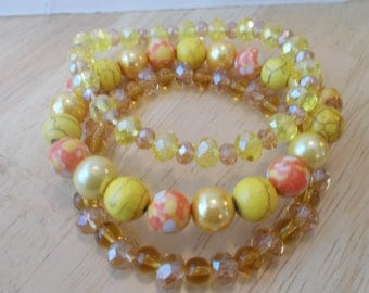 3 Stretch Bangle Bracelet With Yellow and Orange Turquoise Beads, Yellow and Amber Crystal Beads and Yellow Pearls
