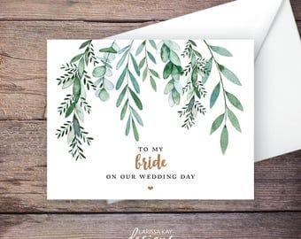Printable Green Garden To My Bride Wedding Card, Greenery, Instant Download Greeting Card, To My Wife Wedding Card – Delilah