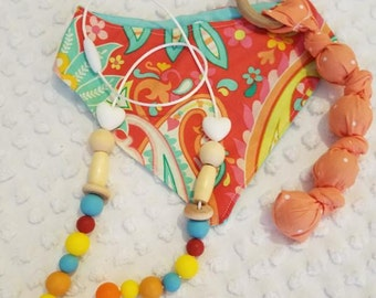 Baby Drool Bib, Teething Rope, Nurse/Teething Necklace. Put in Diaper Bag, Car Seat Colorful, Soft, Soothing FDA Safe Enjoy Everyday Gourmet