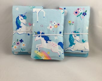 Unicorn Rainbow Tiny Artist Kids Crayon Roll, Doodle Pad, Notebook Holder, Party Favor, Stocking Stuffer