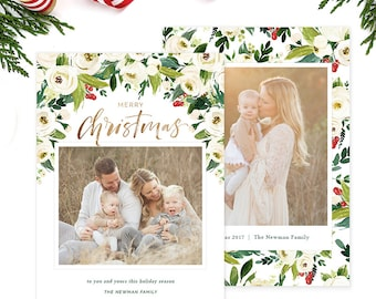Christmas Photo Card, Christmas Card Template, Christmas Photography Template, Christmas Card Printable, Holiday Photo Cards HC313