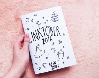 Inktober Zine 2016, Geeniejay, Halloween, Gothic, Horror, Fantasy, Drawing Challenge, Illustration, Witch, Magic, Vampire, Werewolf, Creepy