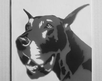 "Great Dane Portrait Spray Painting, 8""x10"" Canvas Panel"