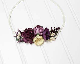 Flawless in Plum - beautiful dainty flower headband in plum purple, dusty lavender, cream, lilac and purple (RTS)