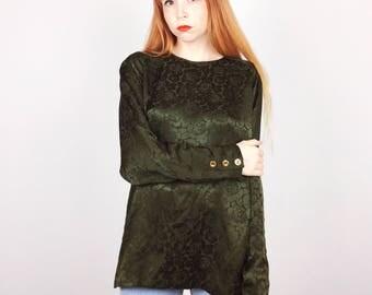 100% Silk Olive Green Vintage Long Sleeve Shiny Rose Floral Print Long Sleeve Blouse Top // Women's size Medium M