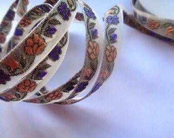 Jacquard Embroidered Floral Ribbon, Multi, 3/8 inch wide, 1 yard, For Home Decor, Accessories, Apparel, Scrapbook, Mixed Media